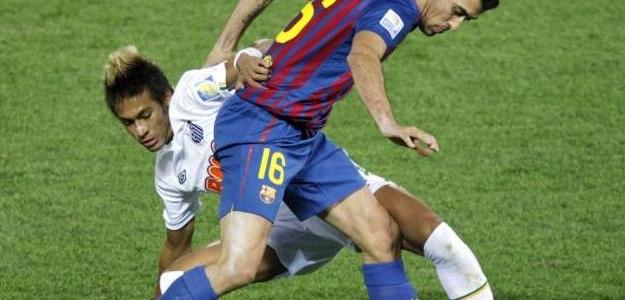Busquets no dejó tocar el balón a Neymar. Foto:lainformacion.com/EFE